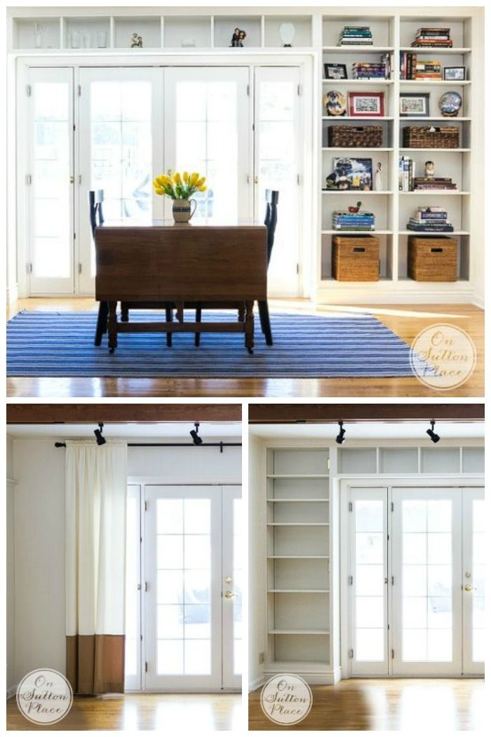 Built in shelves totally changed the look of this room and added charm and function to an otherwise unused space.