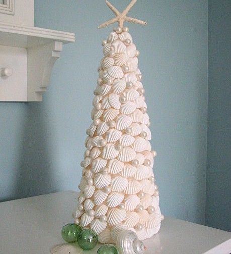 Seashell Christmas Tree made of White Shells by beachgrasscottage ...