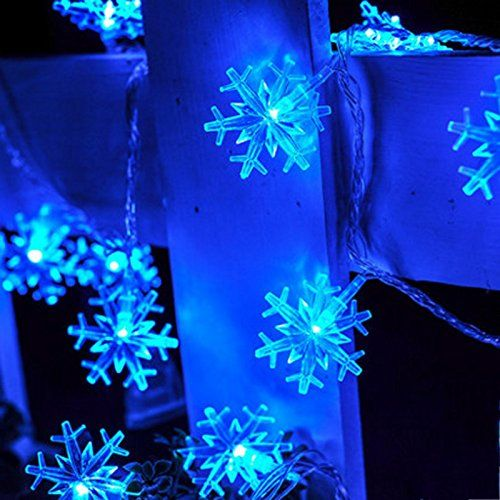 GUchina 10M 100 LED Snowflake String Fairy Lights AC110V220V 8 Lighting  Models Christmas Home Party Decoration Starry Lights Lamp Blue ** AMAZON  Great Sale - GUchina 10M 100 LED Snowflake String Fairy Lights AC110V220V 8