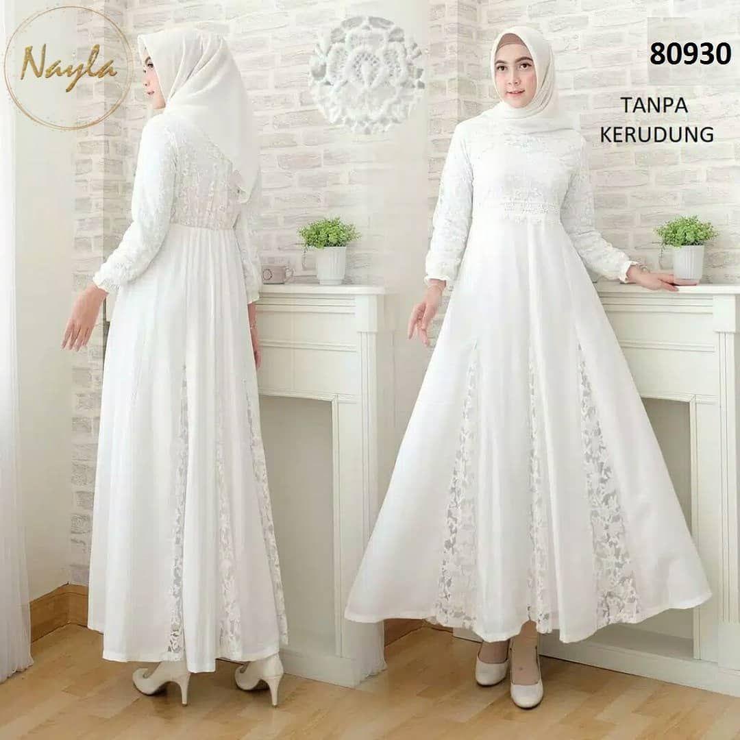 IDR 11.11 (Belum termasuk ongkir) NAYLA Baju Gamis Putih Wanita