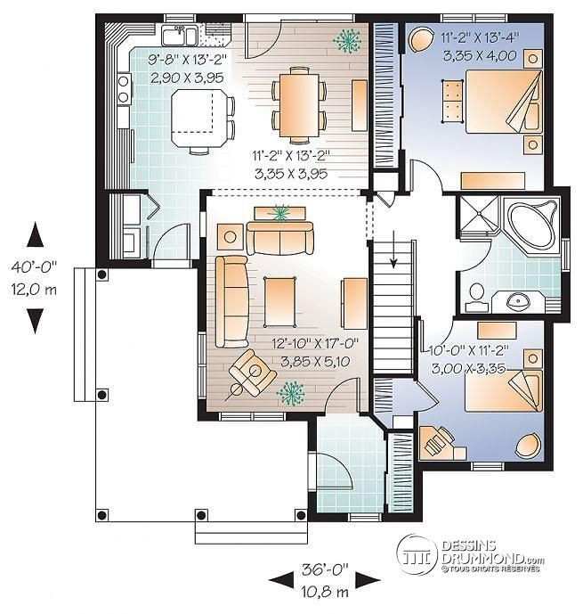 Plan de Rez-de-chaussée Maison champêtre abordable avec 2 chambres