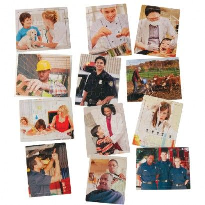 Spark students curiosity about the careers that many people have. These 12 piece wooden inlay puzzles picture real photographs of 12 different careers.