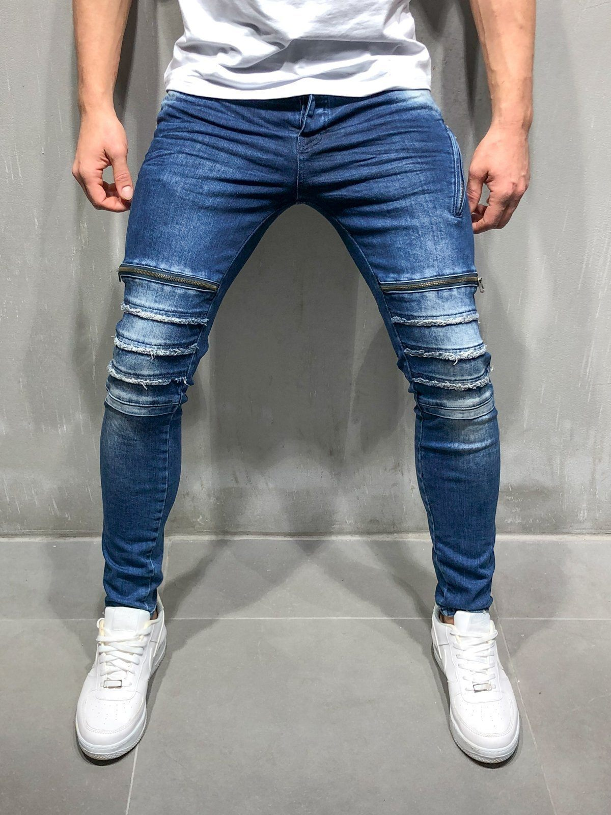 Distressed Jeans Zipper Detail Blue Ripped Jeans Style Types Of Jeans Ripped Jeans