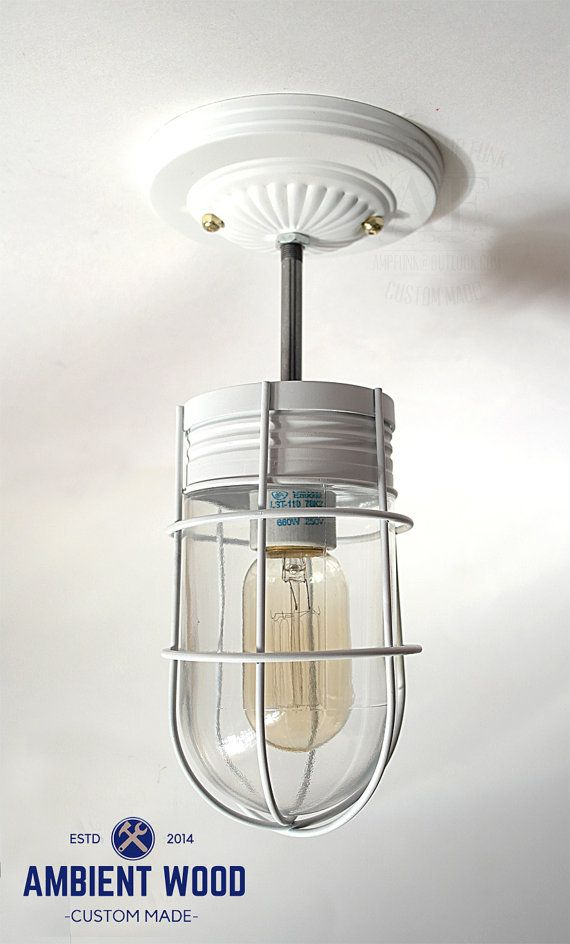 White ceiling Cage glass light Industrial Ceiling Light - Sconce ...