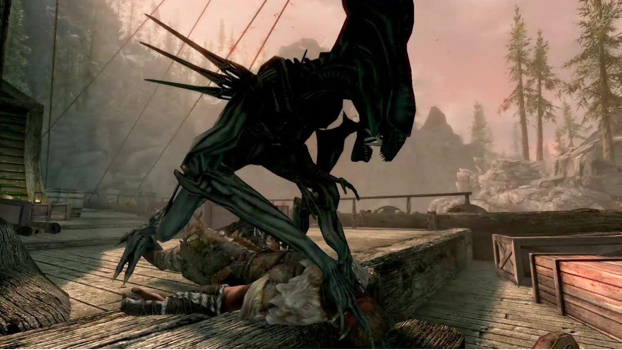 Skyrim Xenomorph Queen Werewolf Replacer Mod #videogames #skyrim