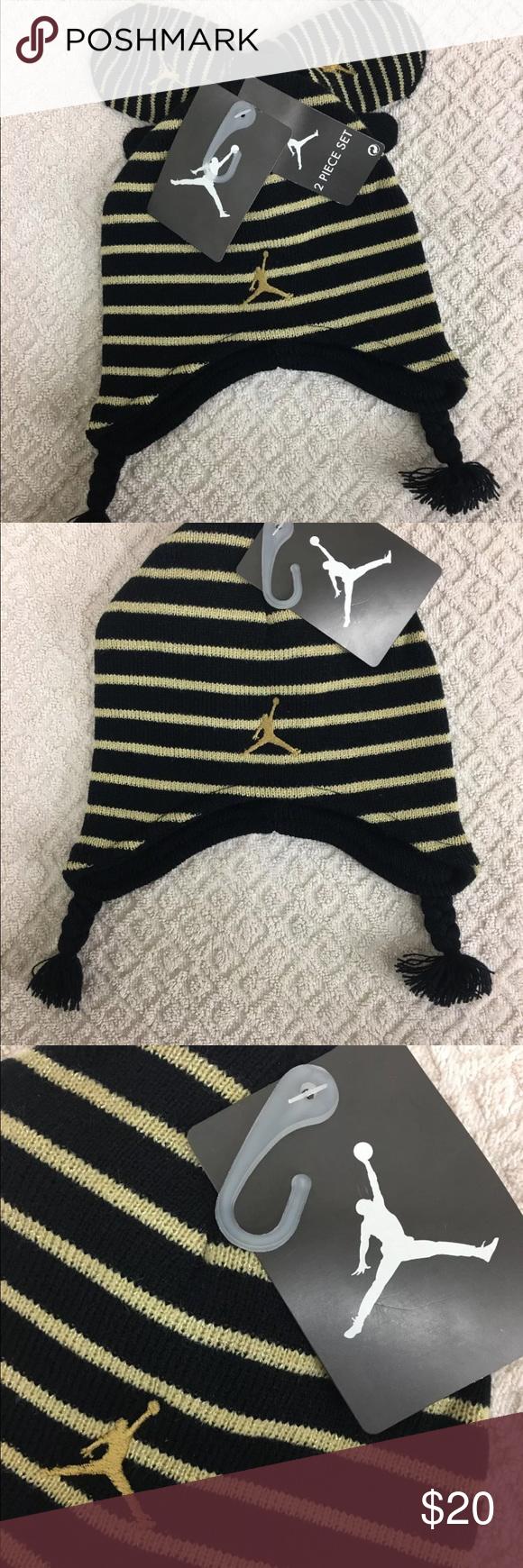 76728035b16 Jordan Boy s 2 4T Striped Beanie Hat  amp  Mittens Set NIKE Jordan Peruvian  Black