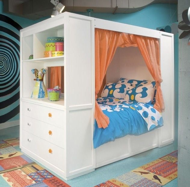Tweennick the retreat loft bed in white finish storage and spaces - Beautiful bunk bed teens ...