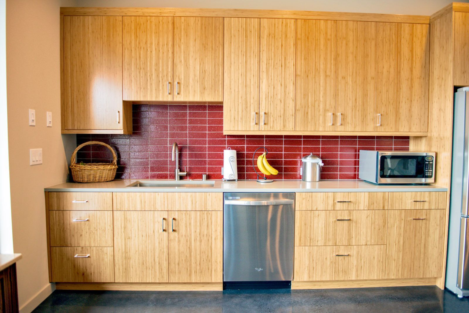 Contemporary Kitchen With Cranberry Red Glazed Slimbrick Tiile From Mutual Materials Kitchendesign Contemporary Kitchen Elegant Kitchen Design Kitchen Layout