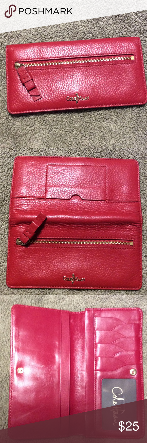 6ebdf3dd67 Cole Haan red leather wallet Red pebbled leather wallet. Snap  closure.outside ID slot. Outside zippered compartment. Inside has card and  bill slots.