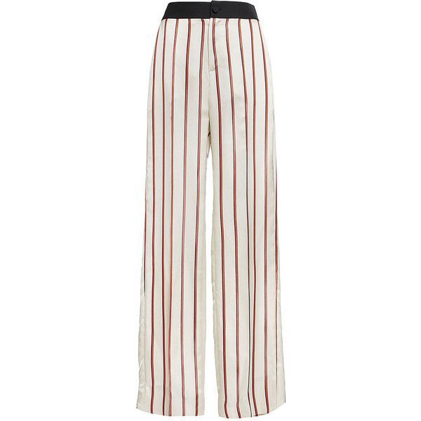 Lanvin     Striped Trousers (€1.020) ❤ liked on Polyvore featuring pants, ivory, white high waisted trousers, wide-leg pants, white high waisted pants, white wide leg trousers and stripe pants