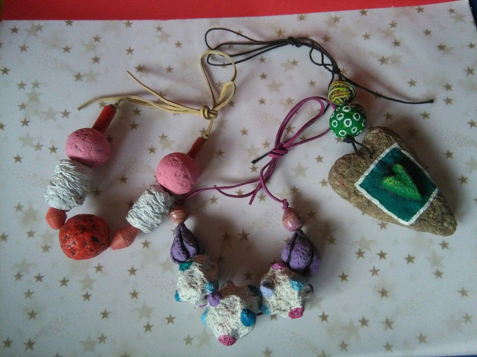 Paper mache necklaces