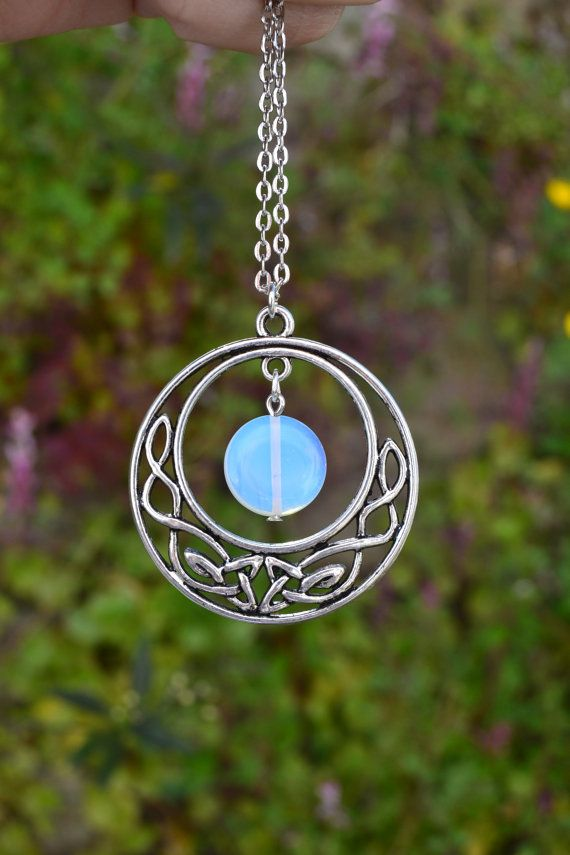 Celtic moon necklace opalite coin necklace celtic knot round outlander jewelry celtic moon necklace opalite crystal necklace celtic knot necklace circle aloadofball Image collections