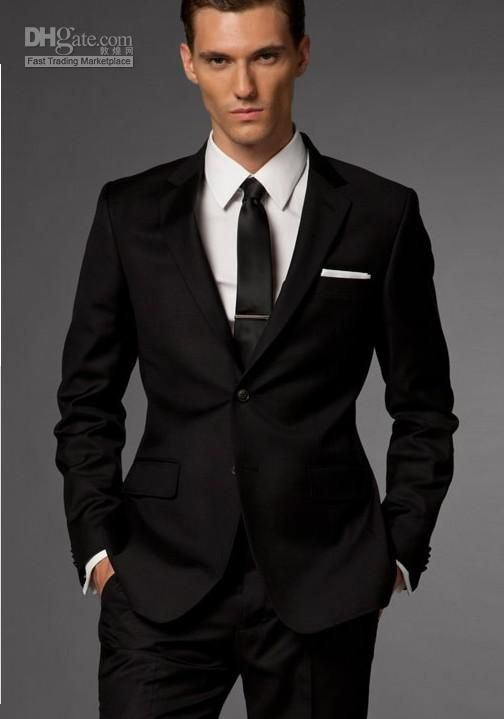 Black suit black tie white shirt white pocket square for Black suit with black shirt and tie