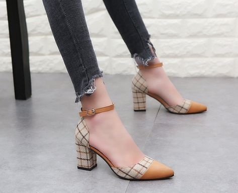 Hottest Milan Check Fashion Women Ankle-strap Plaid Color Thick High Heel Sandals Pointed Toe Shoes from Chyclothing Fashion