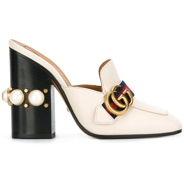 9bb2a13c6dc Gucci gold buckle mules (16.855 ARS) ❤ liked on Polyvore featuring shoes