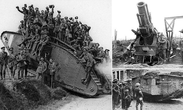 These are the incredibly rare black-and-white photographs showing the British ingenuity that brought the dawn of the tank age and changed the Allies fortunes in the First World War.