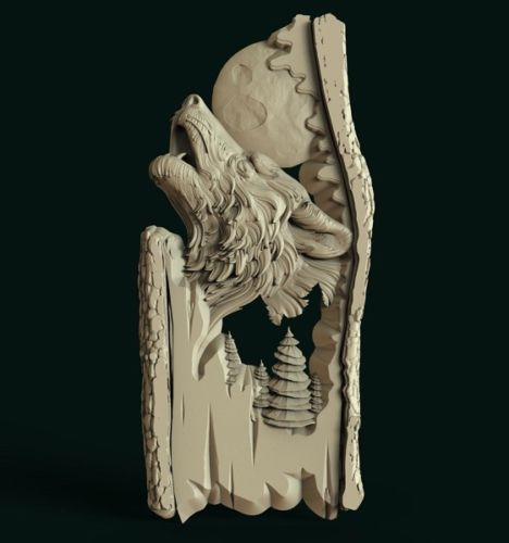 3D STL Model # WOLF /& MOON # for CNC Aspire Artcam 3D Printer 3D MAX Rhino