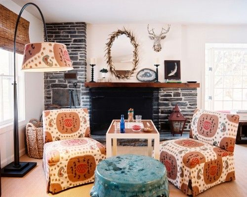 Rustic Living Room By Markham Roberts Inc By: Slipper Chairs: Upholstered In Samarand Ikat By Brunschwig