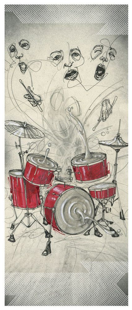 Drum Art Print Drum Artwork Music Artwork by BlackInkArtz, $12.00