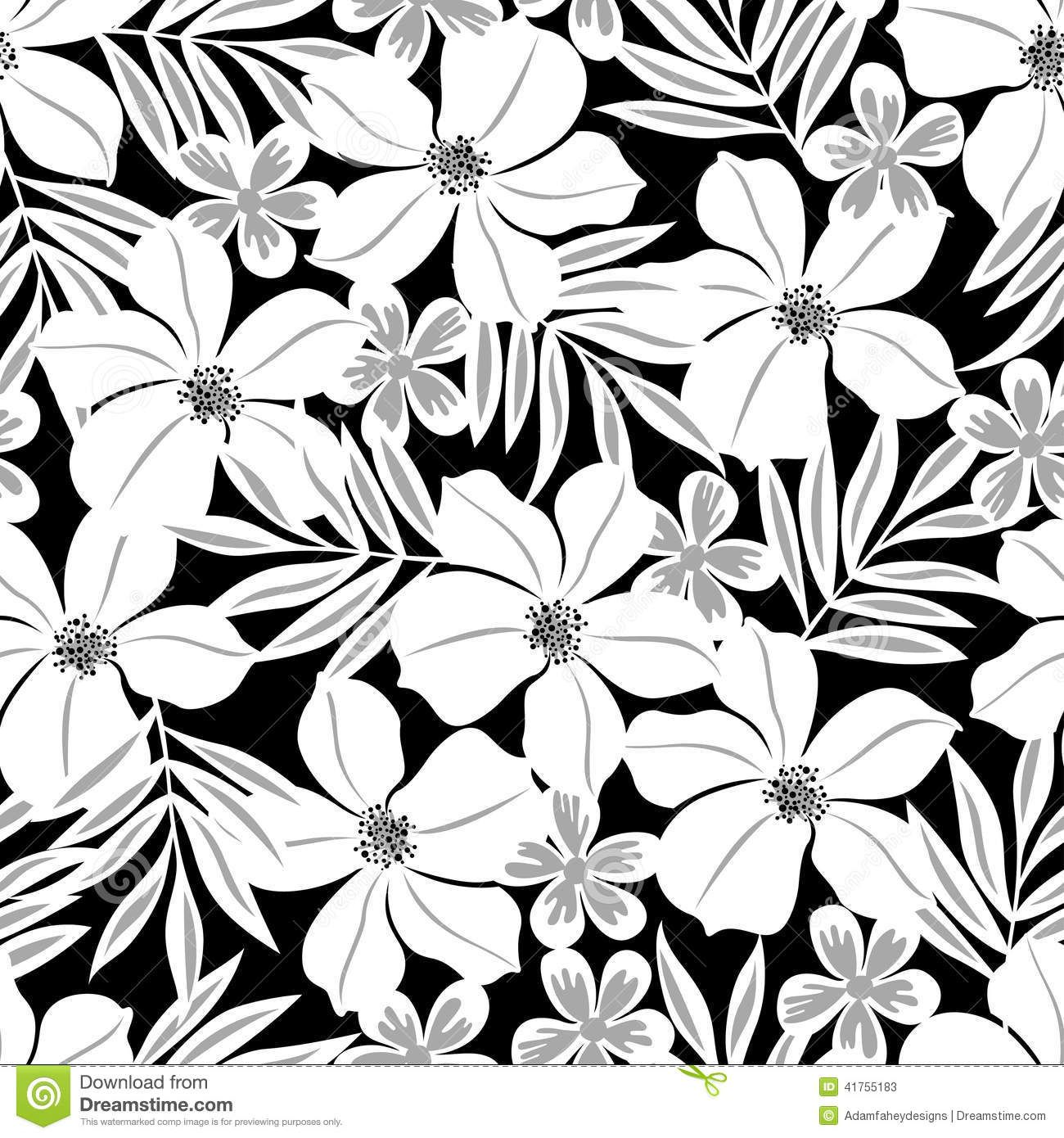 Black And White Tropical Leaves Seamless Pattern Stock