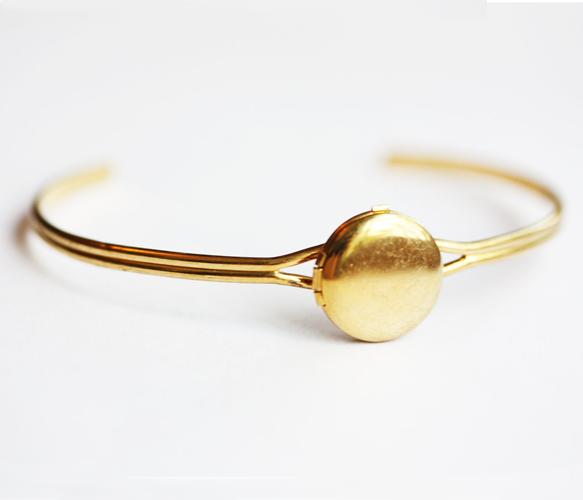 Gold Locket Bracelet by Diament Designs
