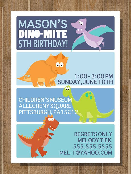 PRINTABLE DINOSAUR Dinosaur Birthday Invitation Dino Mite Invite CUSTOM