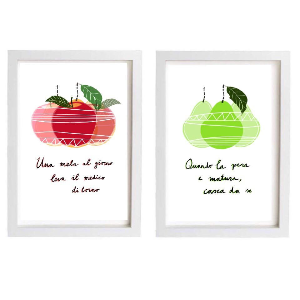 Italian print kitchen art apples pears fruit Instant download ...