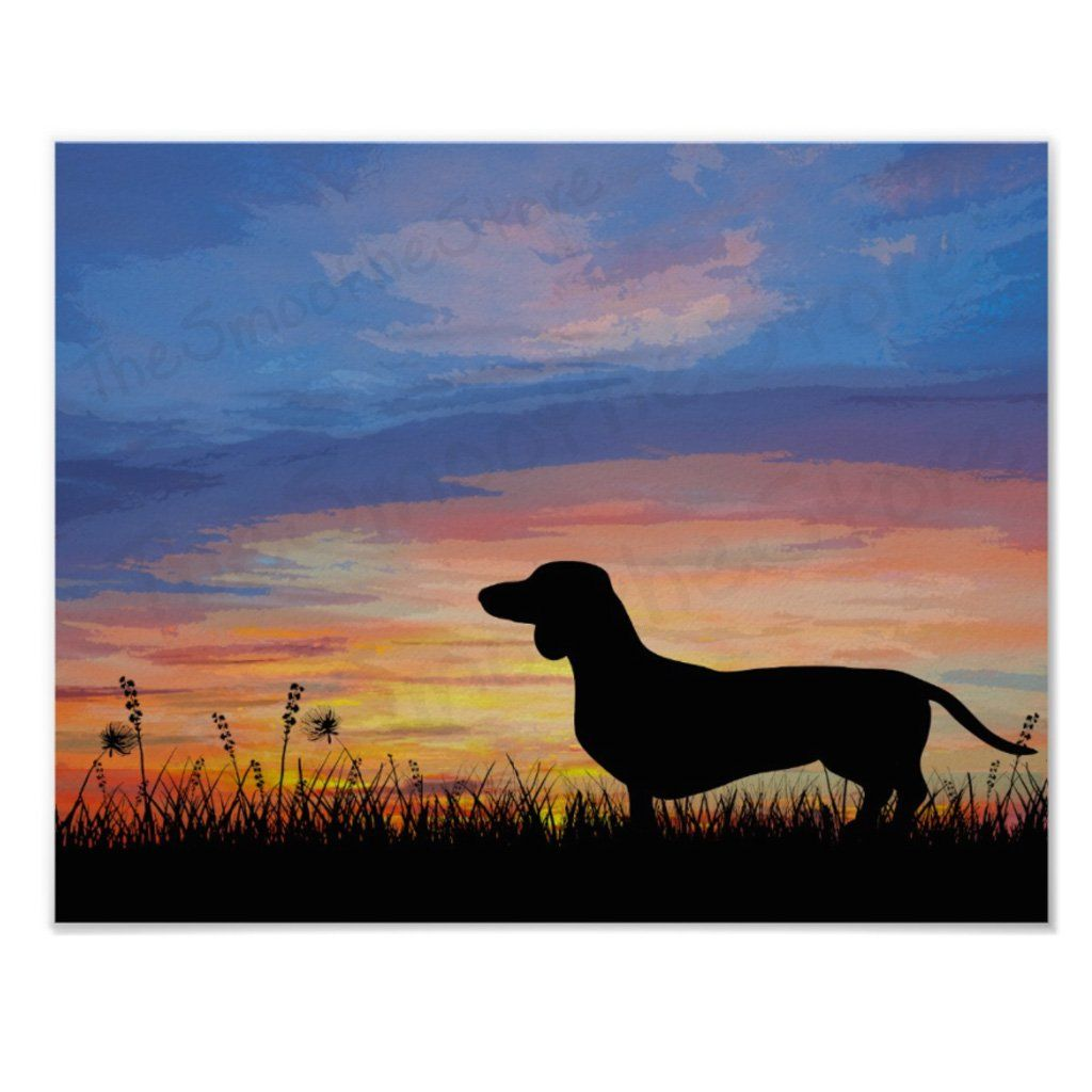 Dachshund Sunrise Art Or Wiener Dog Dusk Print Dachshund Painting