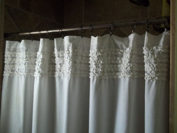 Ruffles & Stripes Shower Curtain by SimplyFrenchMarket on Etsy, $65.00