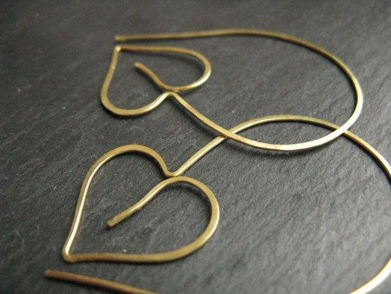 Gold ivy leaf hoops large heart shaped leaves by minimalgeometric, £16.00