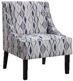 Best Striking Accent Chair Features Ivory Upholstery With An Abstract Pattern In Various Blue Tones 400 x 300
