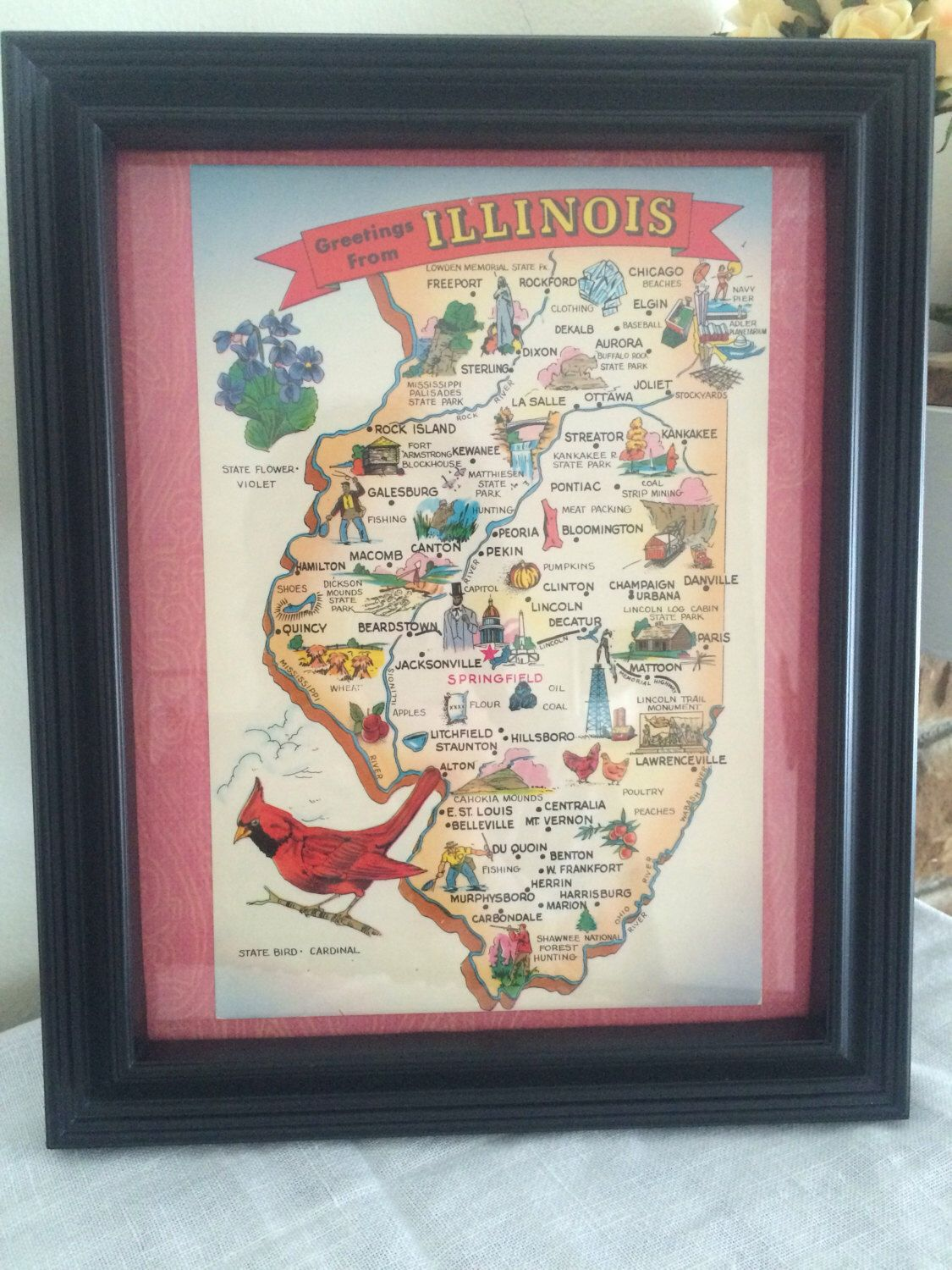 A personal favorite from my etsy shop httpsetsylisting beautifully whimsical vintage illinois map postcard from the made by the tichnor brothers lusterchrome postcard is framed for display gumiabroncs Gallery