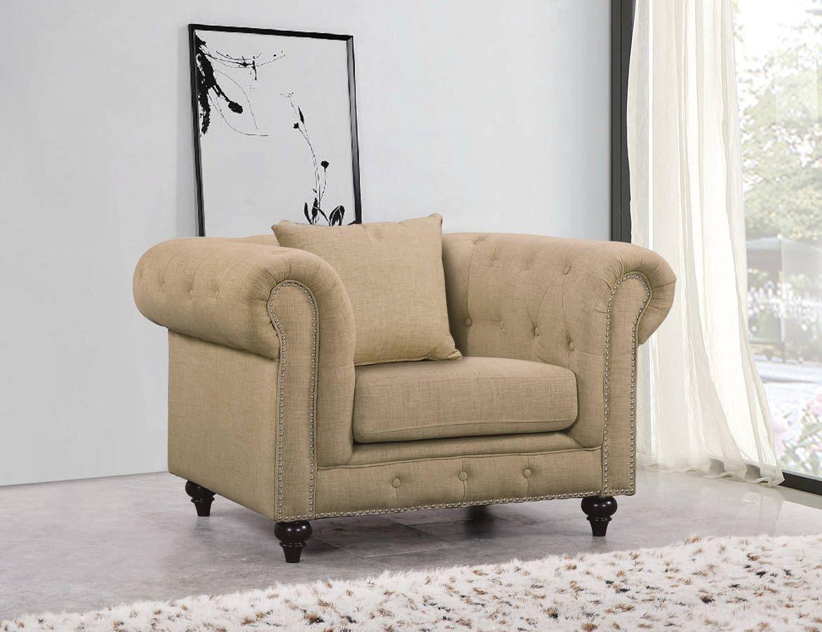 Meridian Furniture Chesterfield Sand Linen Chair
