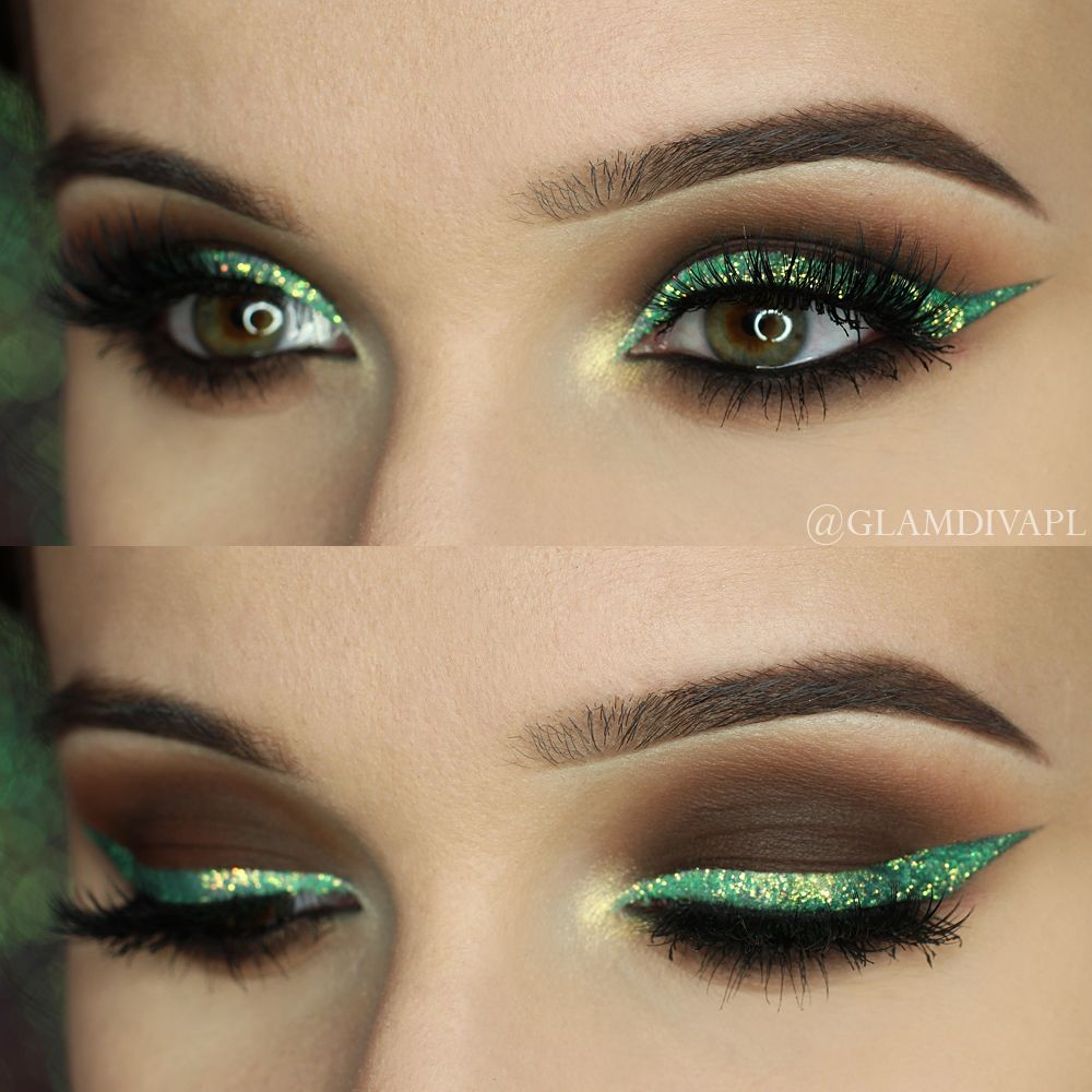 Check out our favorite Green glitter inspired makeup look