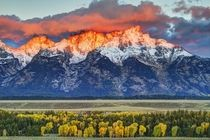 Orange Glow at Teton Range Wyoming Taken by Robert Buman