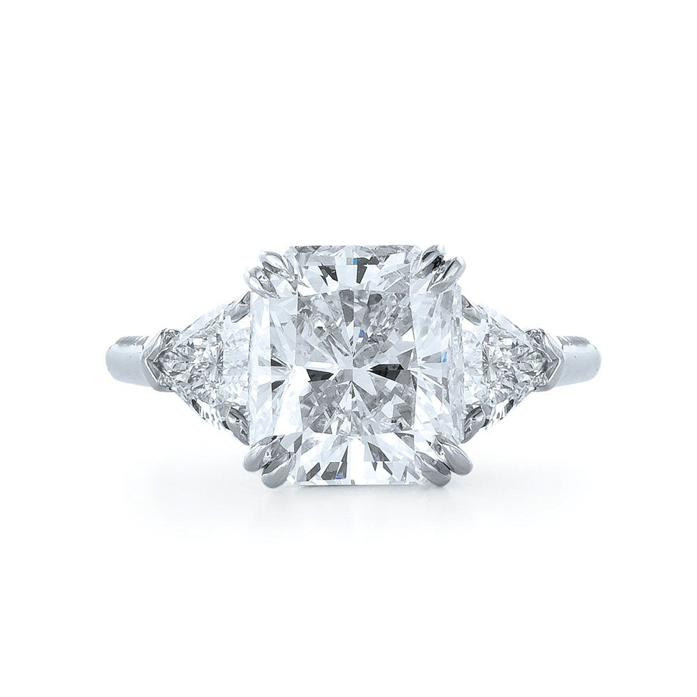 Kwiat Radiant Cut Diamond And Platinum Ring With Two Trilliants