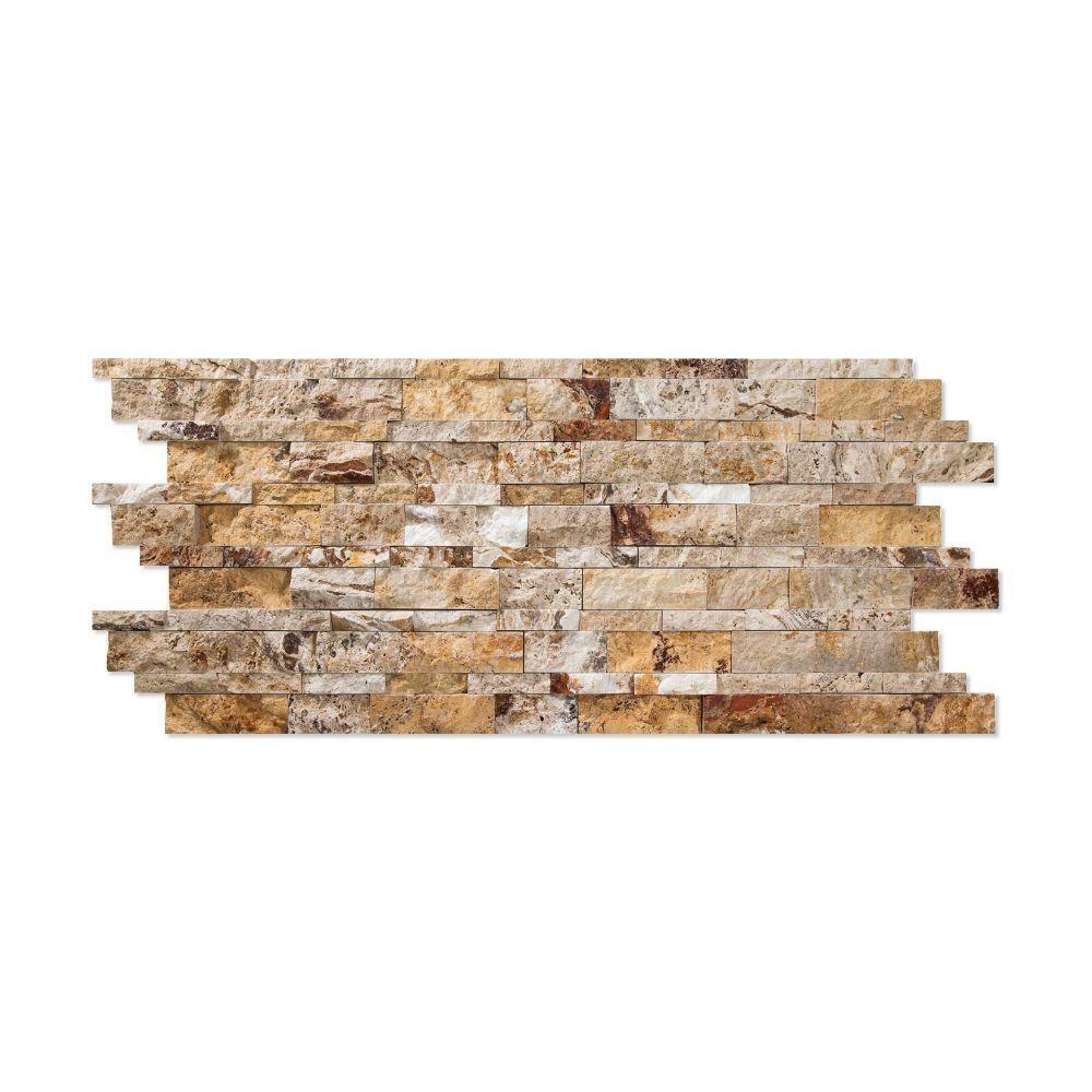6 x 24 Splitfaced Scabos Travertine Ledger Panel