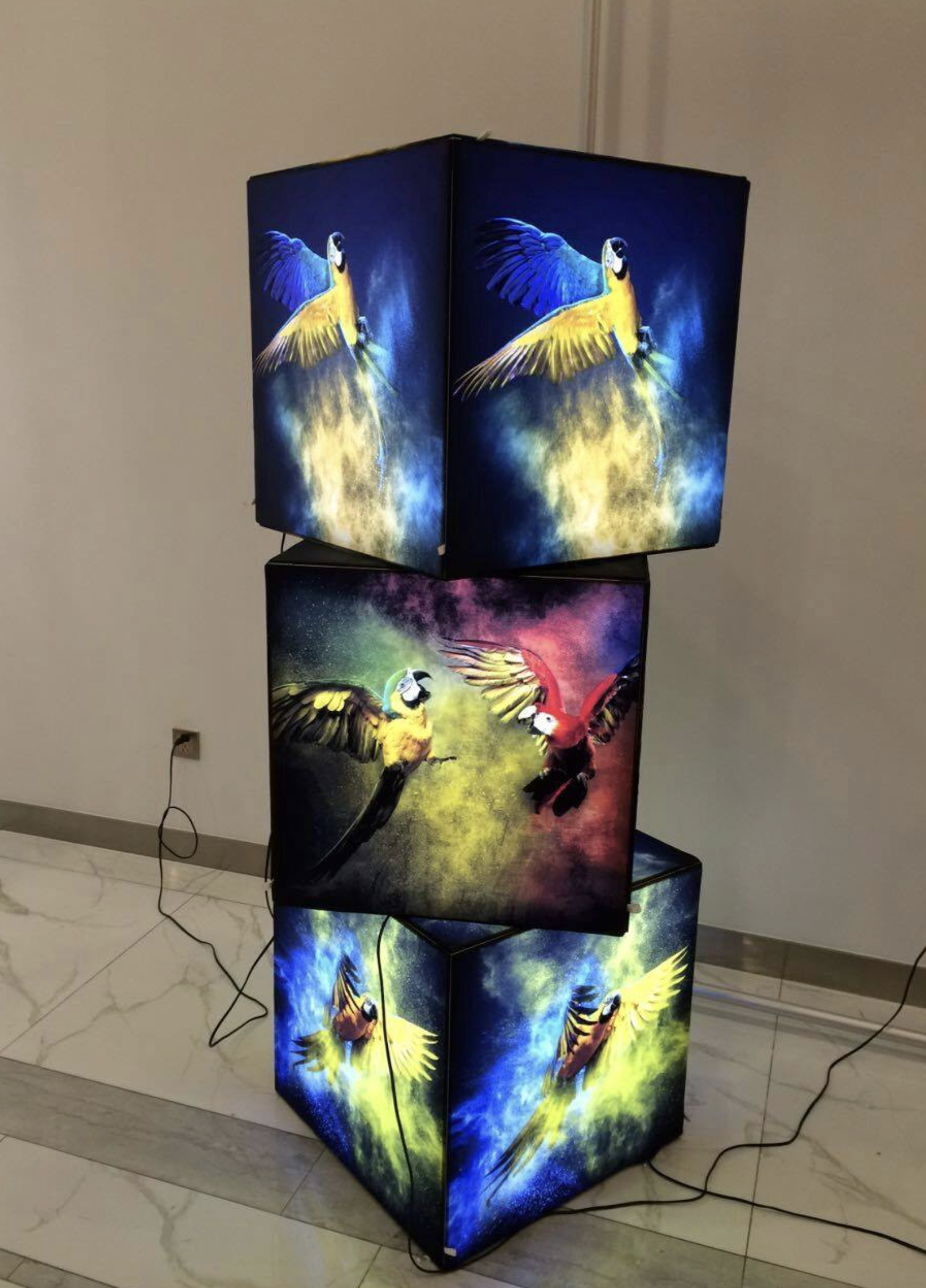 Led Light Box Fabric Graphic Display Cubes Light Box Display