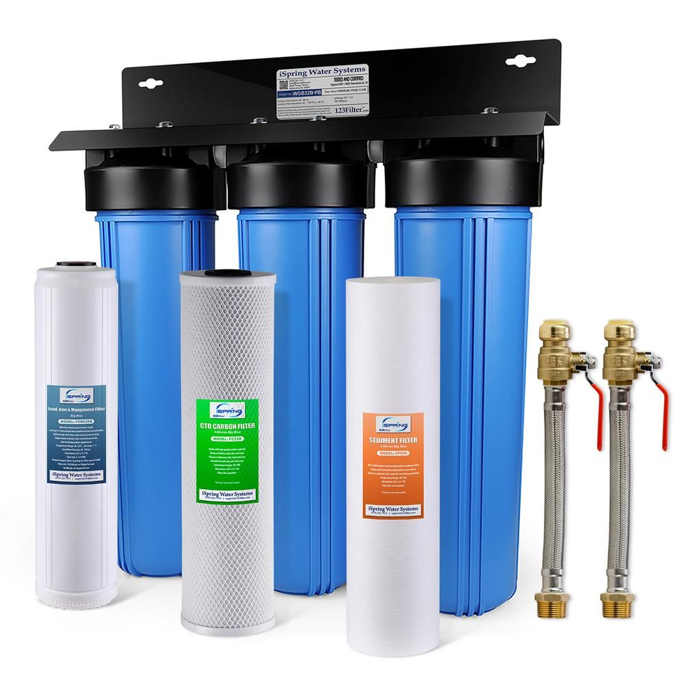 Ispring 3 Stage Whole House Water Filtration System W Iron Lead Reducing Filter W 3 4 In Push Fit Hose Connectors Wgb32b Pb Ahx2 In 2020 Water Filtration System Whole House Water Filter House Water Filter