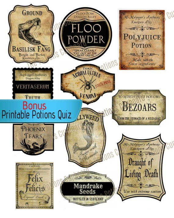 picture about Harry Potter Apothecary Labels Free Printable referred to as Fair Do-it-yourself Labels, Impressed by way of Harry Potter Wizard