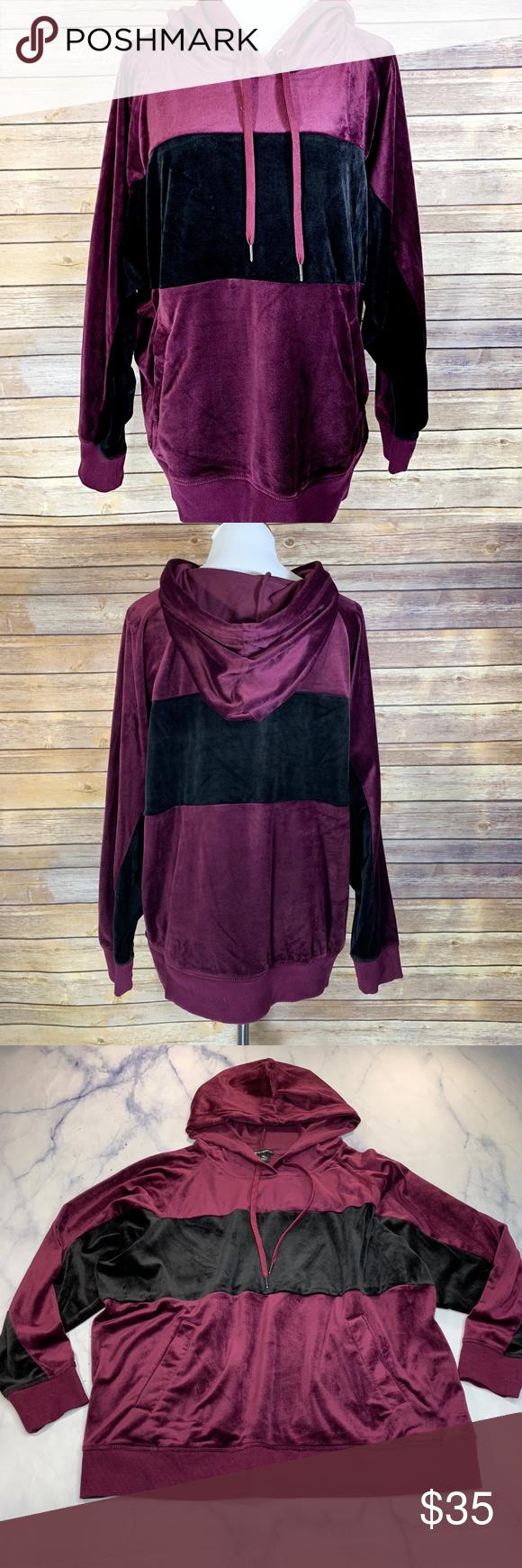 Champion Elite Burgundy Black Stripe Velour Hoodie Velour Hoodie Black Stripes Clothes Design [ 1740 x 580 Pixel ]