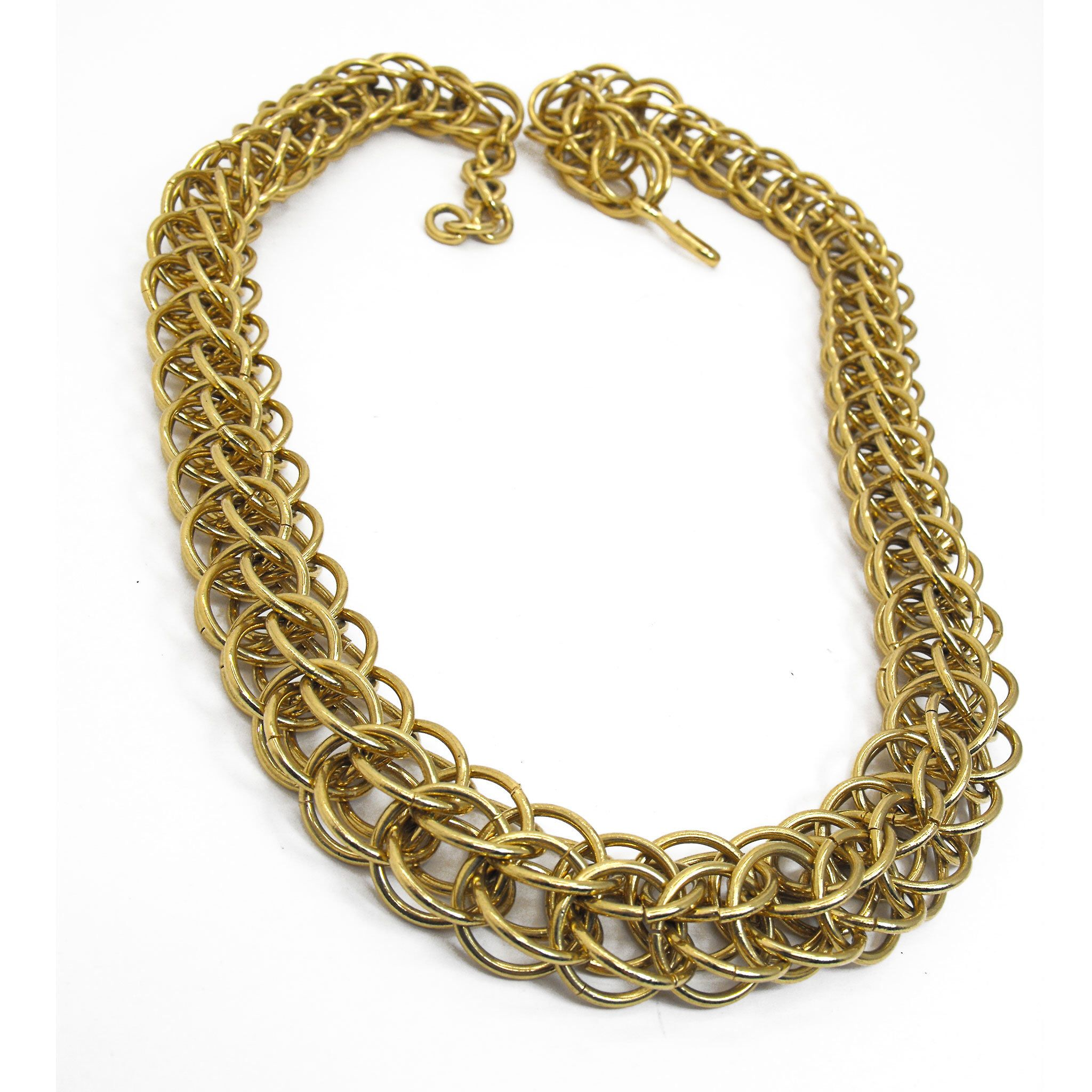 Vintage Signed Monet Chunky Gold Tone Fancy Rope Link Chain Necklace 80s