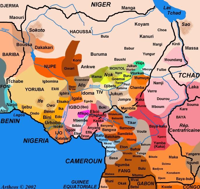 Map : Nigeria, ethnic groups' areas   World Thinking   Nigeria