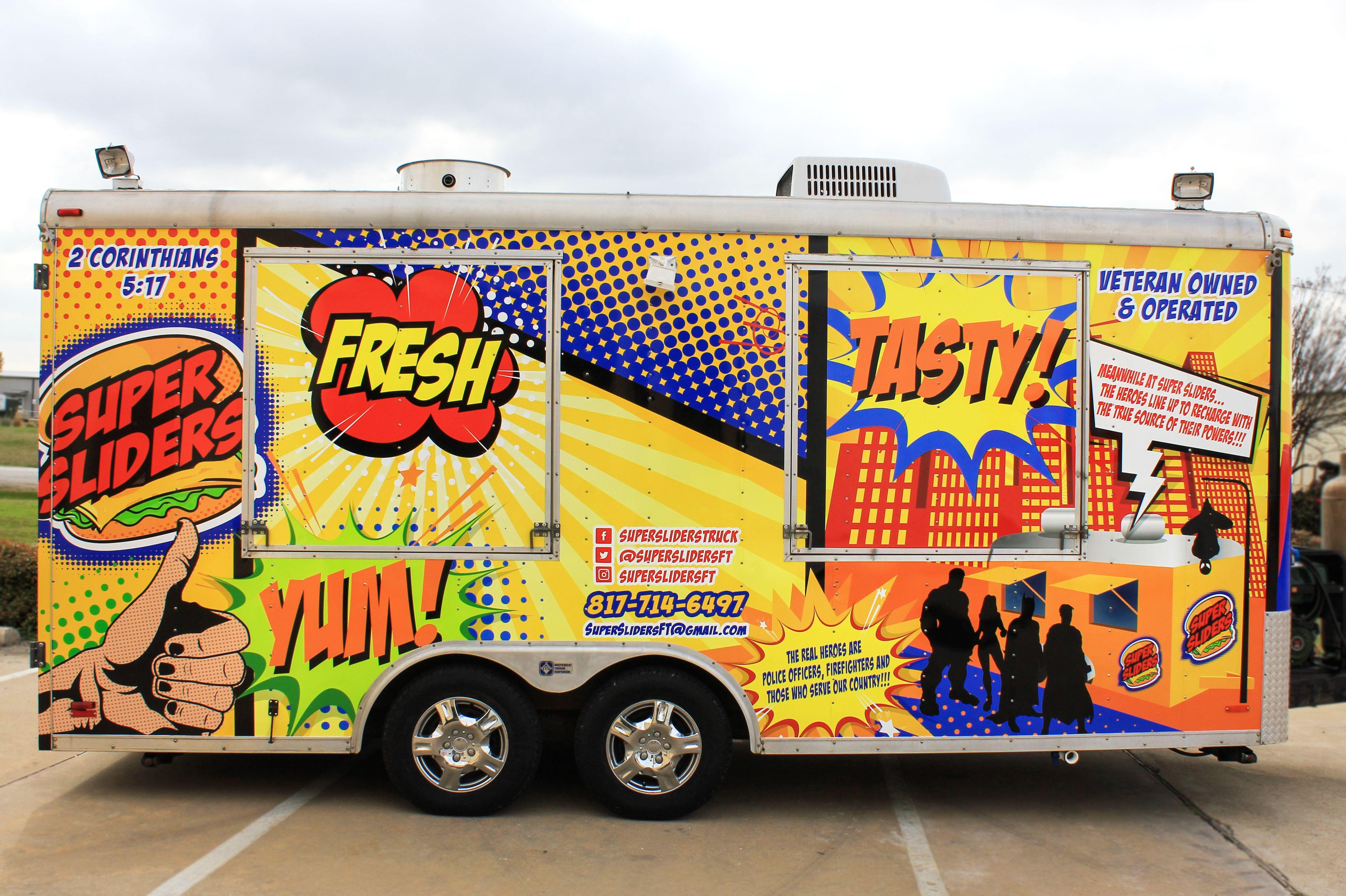 Comic style food truck design ideas comic book design