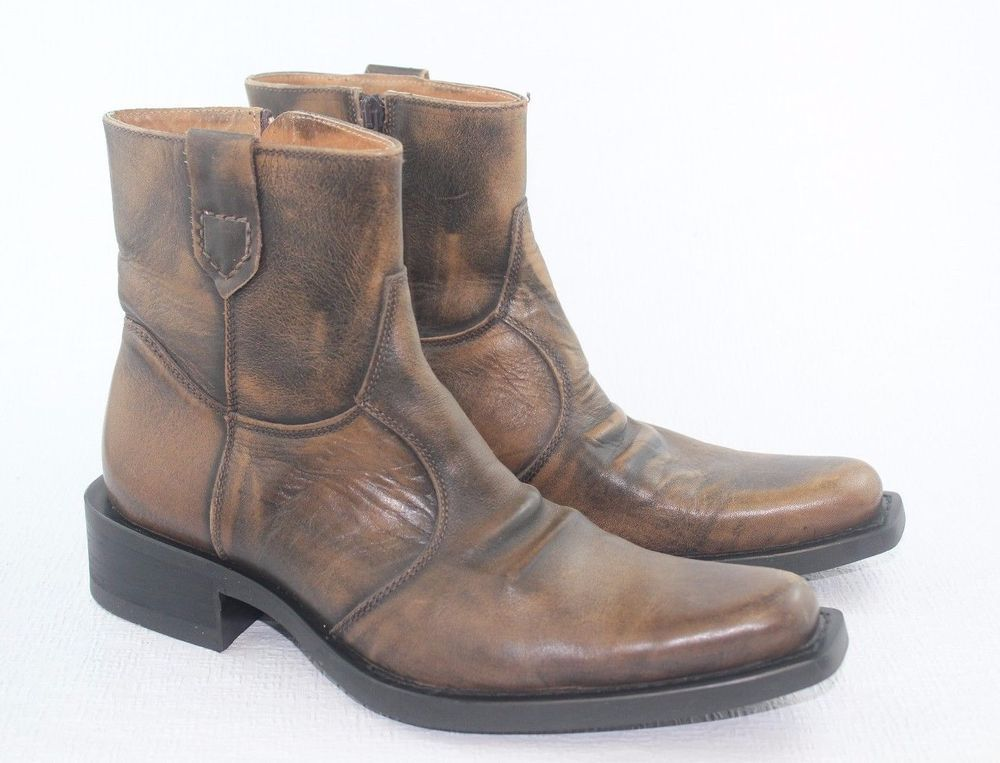RIDE AWAY UTD BROWN BLACK LEATHER COWBOY WESTERN ANKLE BOOTS US 9 M EU 42   RIDEAWAY  AnkleBoots eab100decbbc8