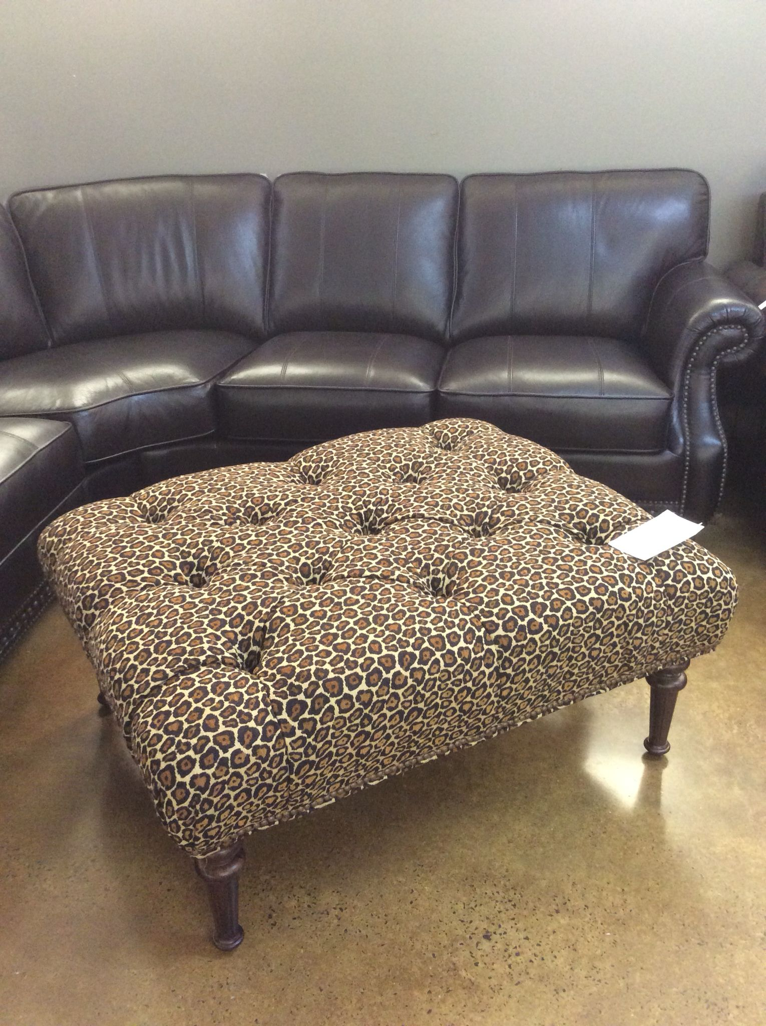 Need An Exotic Accent For Your Leather Furniture This Clayton Marcus Leopard Print Ottoman Is Answer