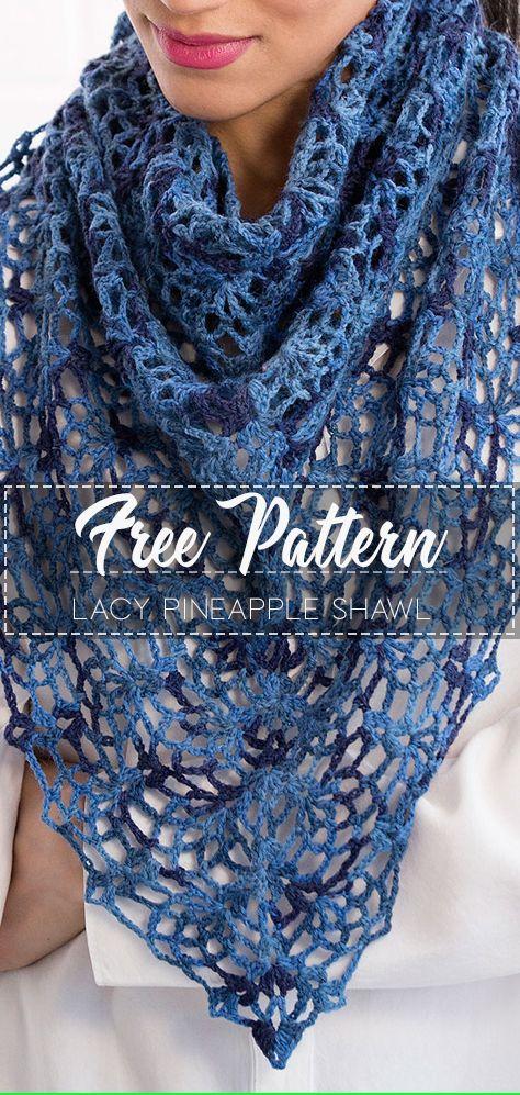 Lacy Pineapple Shawl – Pattern Free  #crochetshawlfree