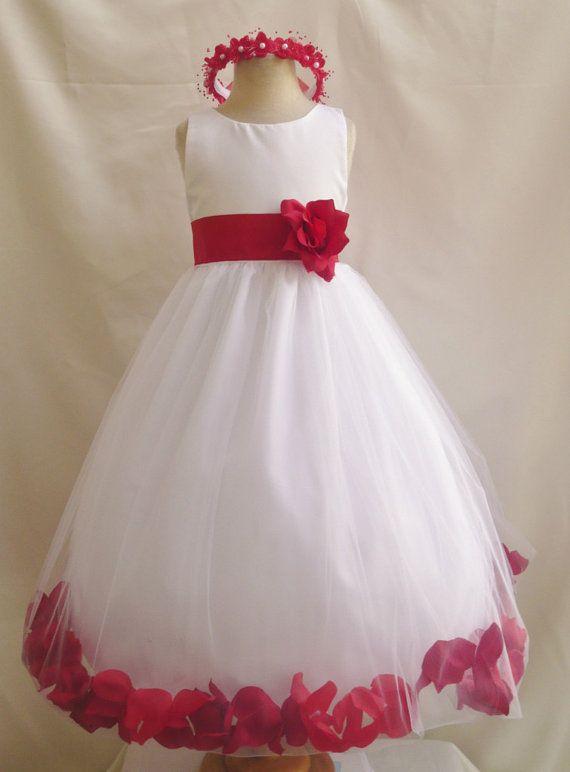 61264356c3f6 Flower Girl Dress WHITE w  Red Cherry PETAL Wedding Children Easter ...