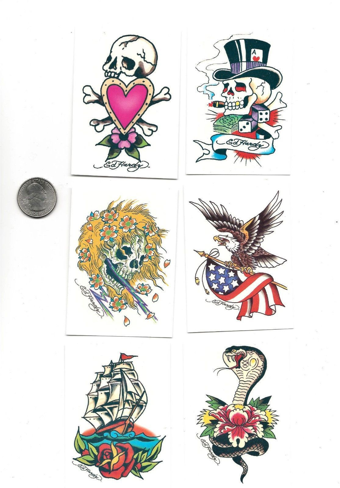 Details about 6 Ed Hardy Classic Designs Skulls Flag Celebrity Art ...