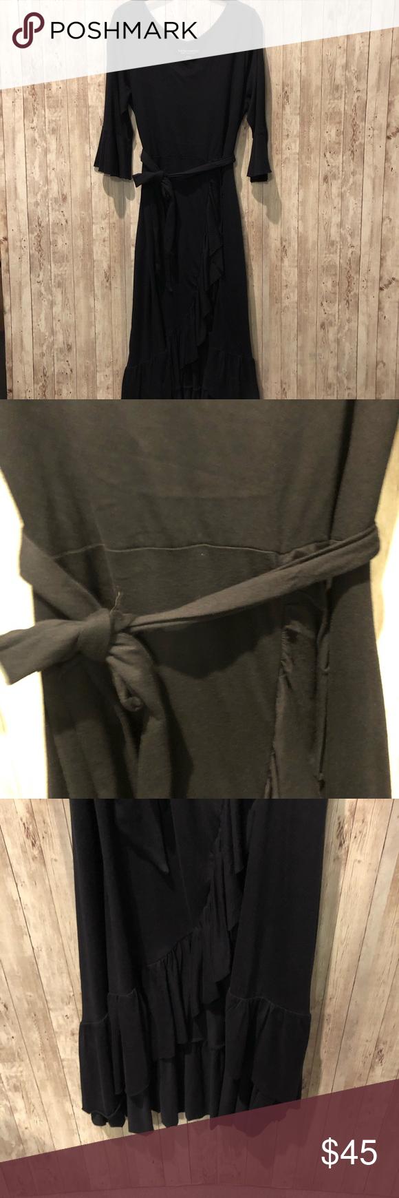 Soft Surroundings Springtime Ruffles Dress Black Soft